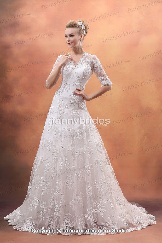 Nice wedding dresses  Lace Modern Cheap Vneck Half Sleeves Nice Wedding Dress