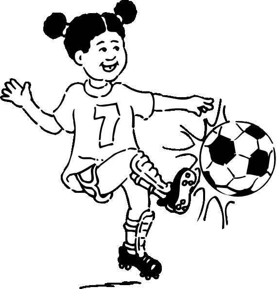 Clip Art Soccer Playing Girl Outline