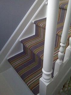 Dash And Albert Stair Runner   Blueberry Ticking