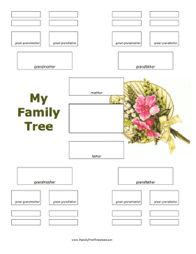 This Pretty Family Tree Template Has A FullColor Illustration Of