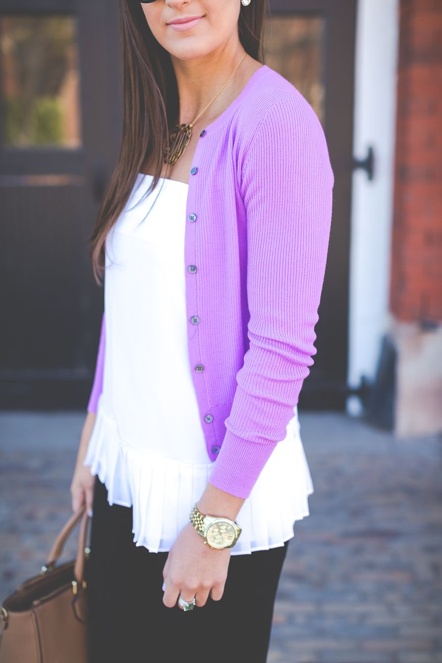 Pastel Cardigan Sweater | White peplum, Business chic and Business ...