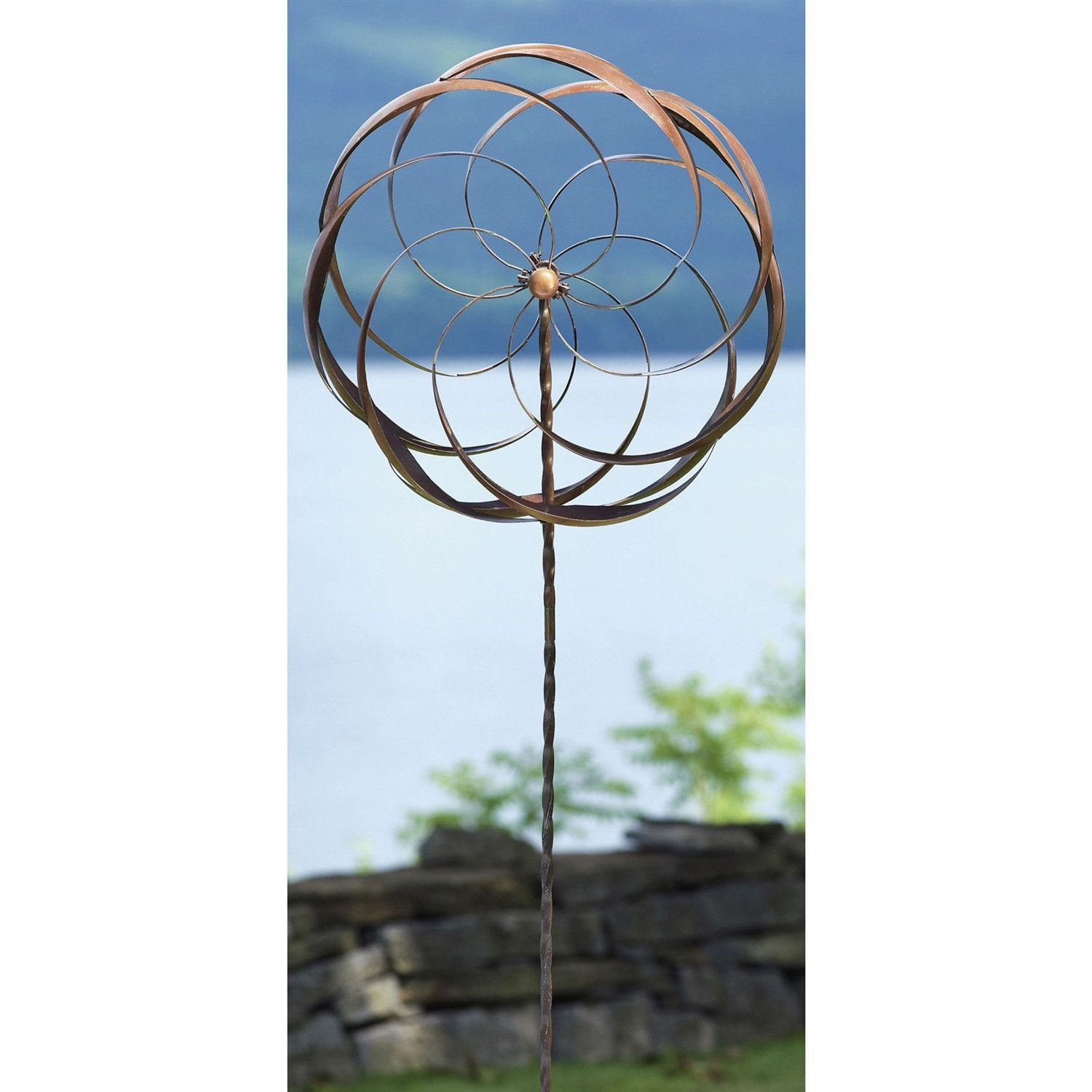 Handcrafted Copper Plated Metal Spinning Flower Pinwheel Wind Spinner Garden  Stake