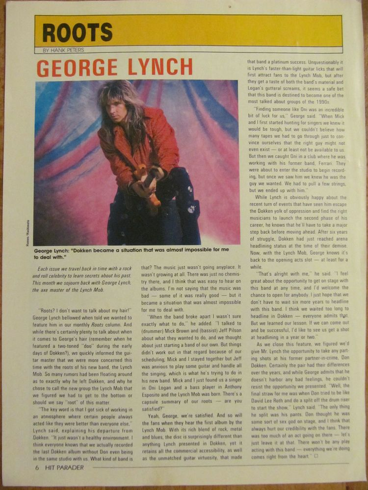 Lynch Mob, George Lynch, Full Page Vintage Clipping