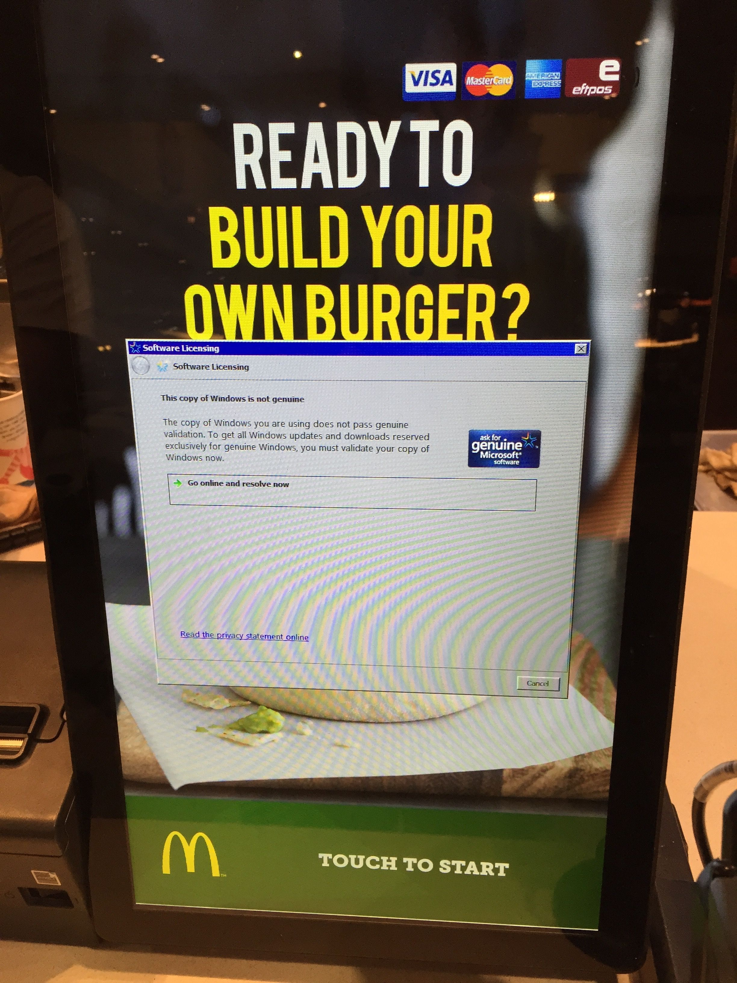 I'll pay for my burger when you pay for Windows.
