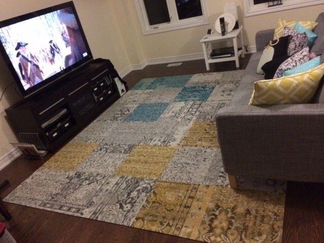 Carpet Tiles As Area Rug Square Grey Cream Turqoise Plaid And Fl Pattern Vintage Beautiful Cotton
