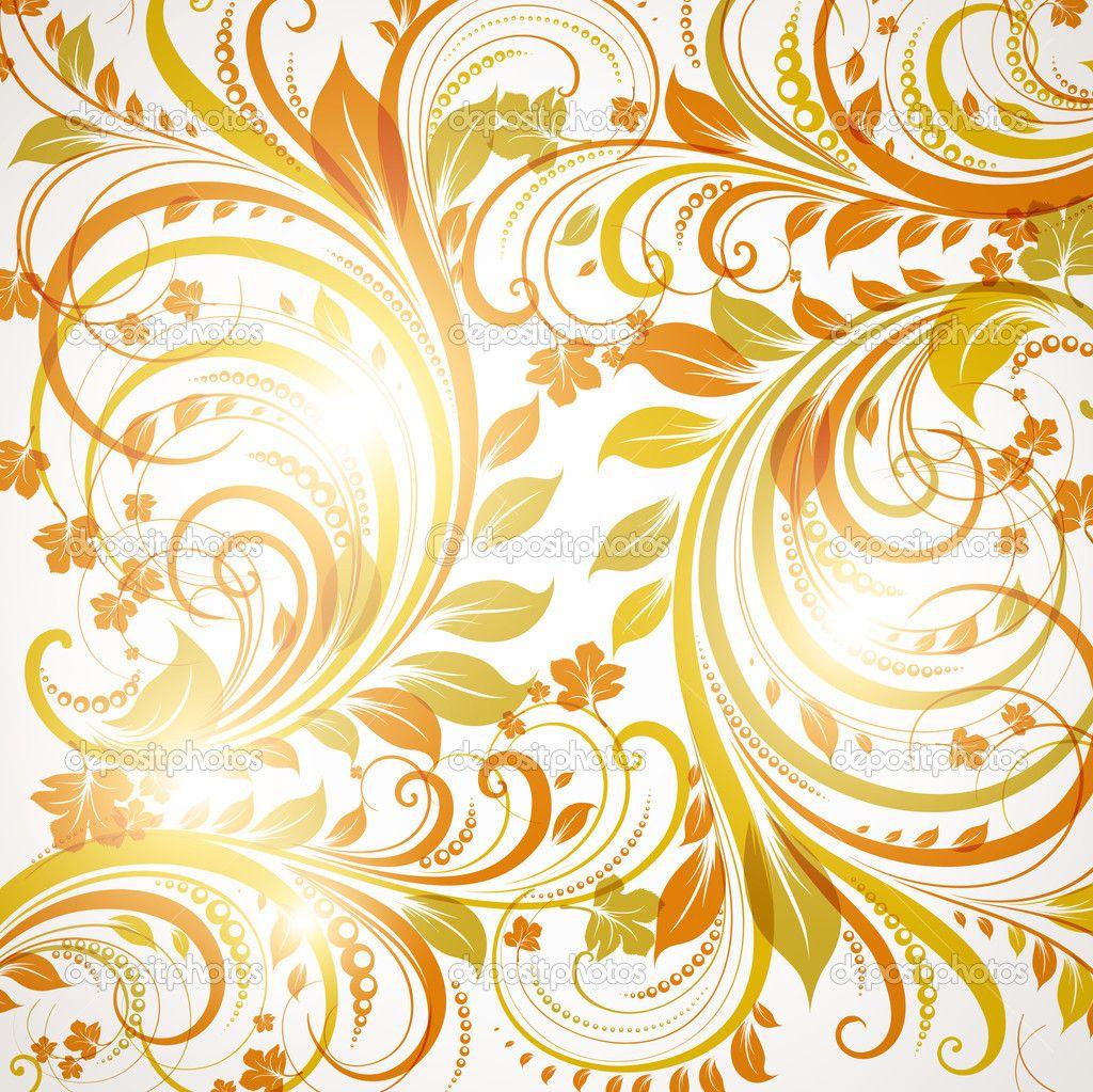 коричневый бесшовные обои с цветочным орнаментом с листья и цветы для ретро дизайн - Стоковая иллюстрация: 16043645