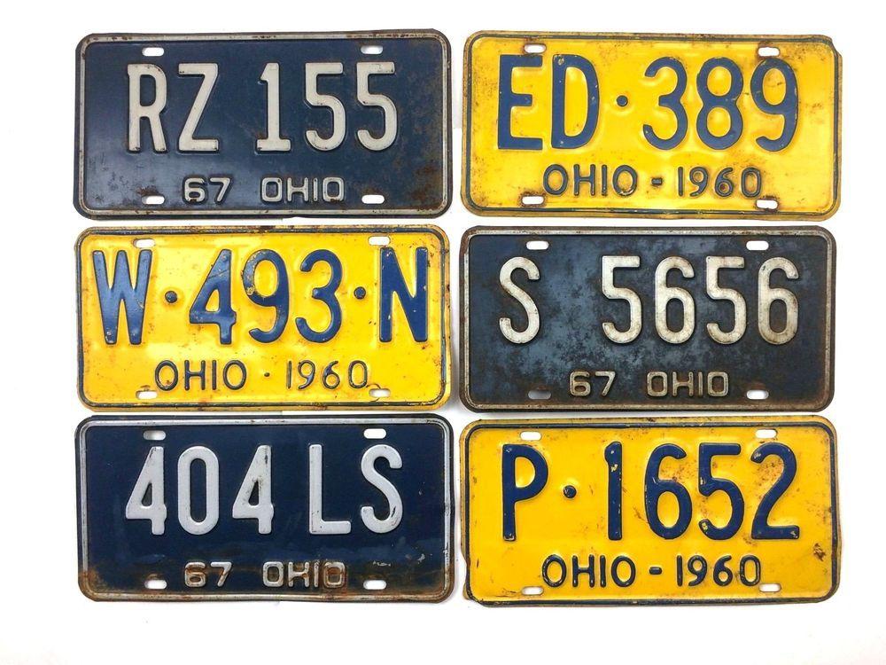 1960s Old License Plates Lot Vtg Ohio Decor Car Garage Retro Auto ...