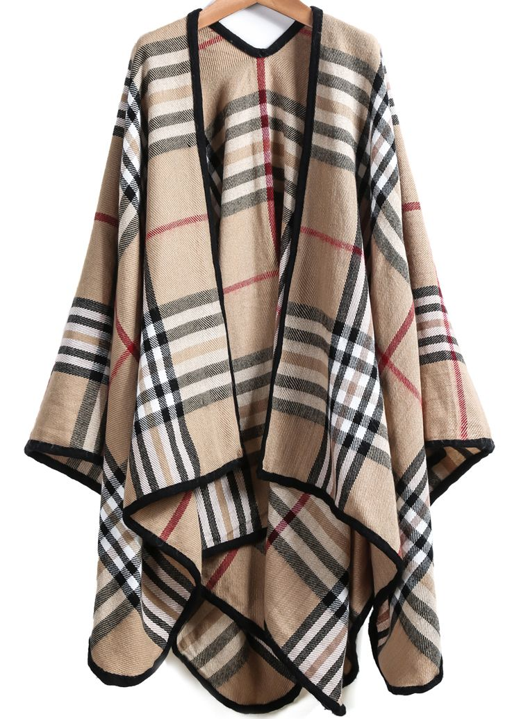 Plaid Loose Cape Outerwear 25.00