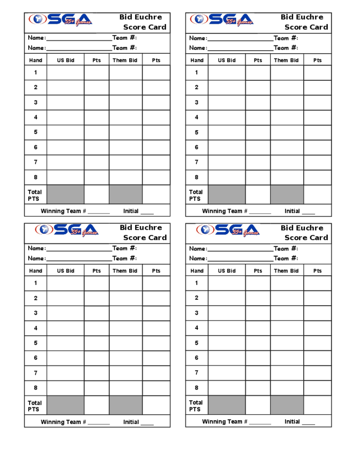 Image Result For Printable Bid Euchre Score Cards  Decor