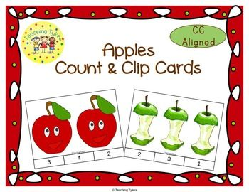 Practice counting 1-20 with Apples. Count the Apple pictures in the set and clip the numeral that corresponds with the number. I like to make these cards self-checking by writing the answer or placing a sticker on the back of the card in the area of the correct answer, where the clothespin will be clipped. Terrific for