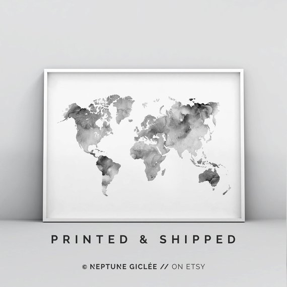 Grey And White World Map Print, Modern Map Print, Abstract Map ... Modern World Map Poster on