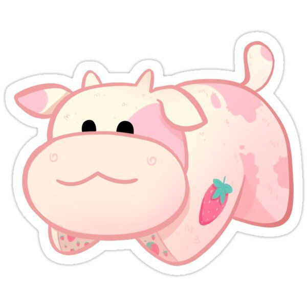 Strawberry Cow Pillow Pet Sticker In 2020 Cow Drawing Cow Art Animal Pillows