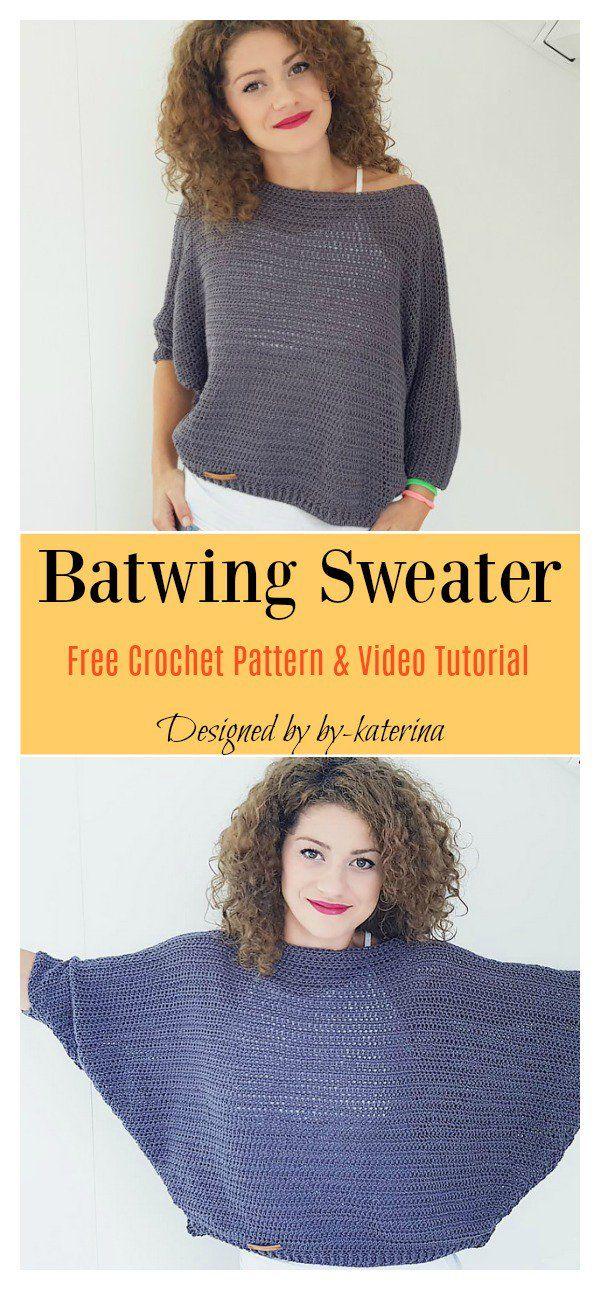 Batwing Sweater Free Crochet Pattern and Video Tutorial #sweatercrochetpattern