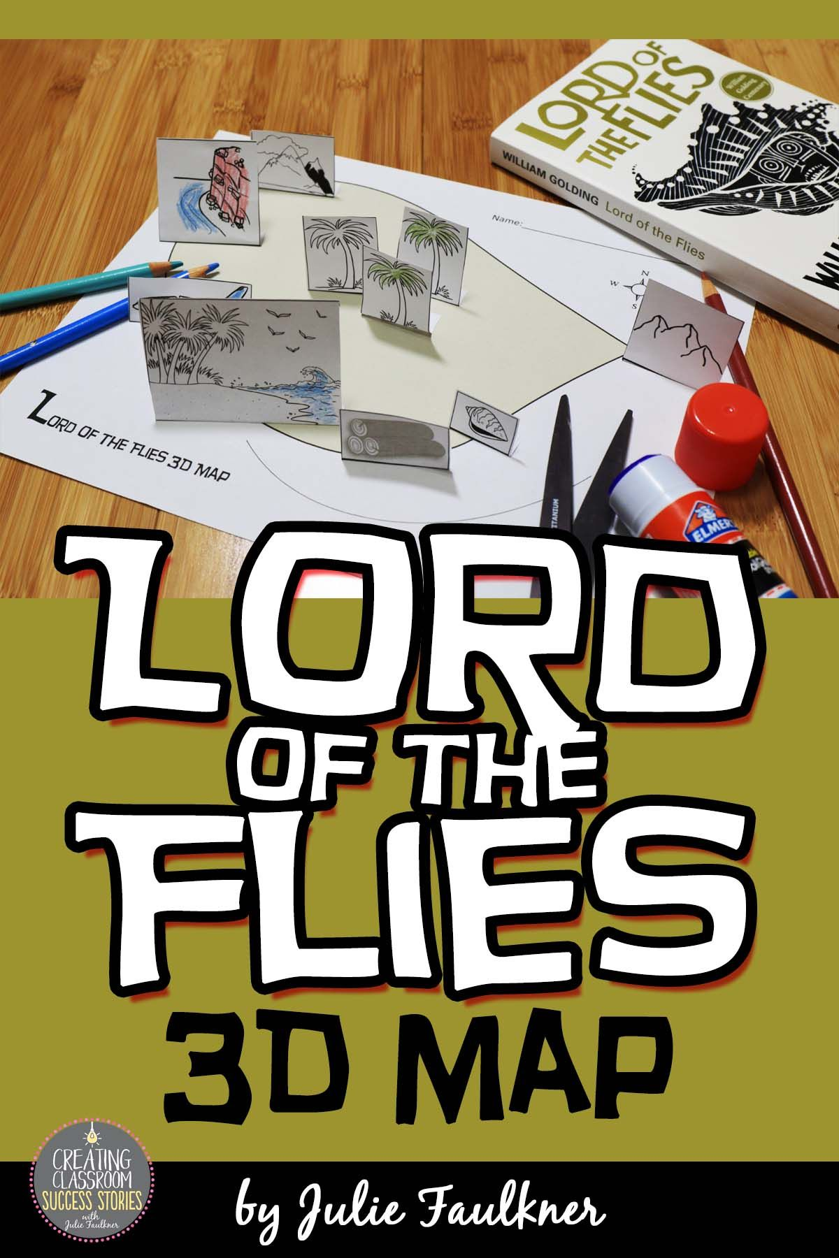 lord of the flies literature guide unit plan william golding lord of the flies 3d map activity chapters 1 2 close reading