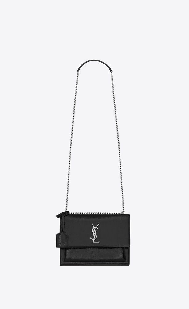 f2c9ee0bc7c2 SAINT LAURENT Sunset Woman Medium SUNSET bag in black patent leather a V4