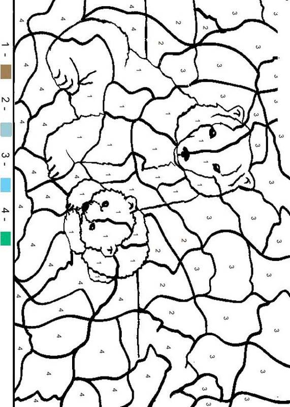 Animal Color By Number Coloring Pages Bear Family Coloring Pages Family Coloring Family Coloring Pages