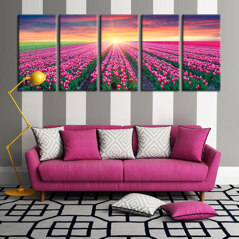 5 Piece Large WALL PAINTING Flower Sunlight On Red Tulips Canvas ...