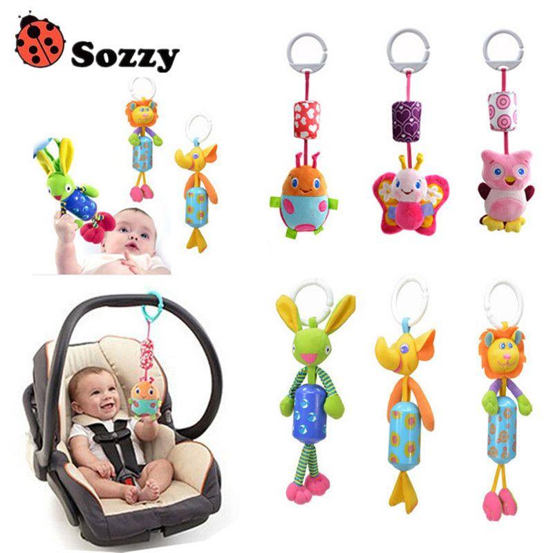 Baby Gift Baby Hand Bell Animal Windbell Rattles windbells animal shape bed/car hanging bells educational toys plush dolls