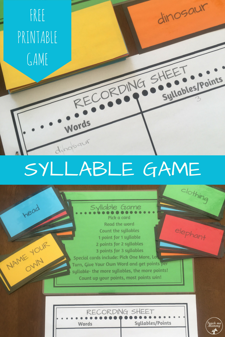 picture about Syllable Games Printable named Syllable Activity Examining Syllable, Examining video games