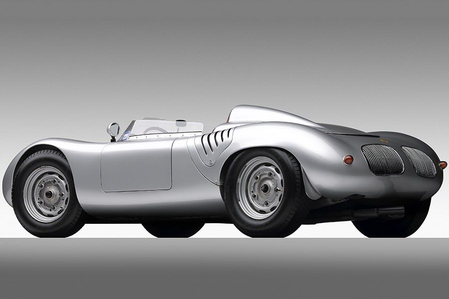 1959 PORSCHE RSK (Ralph Lauren's Vintage Car) Lauren's edition of the Spyder, number 718-009, had its most triumphant moment in 1959 when it captured second place in the Tourist Trophy on the Goodwood Circuit in England, placing two seconds ahead of Tony Brooks' Ferrari—which boasted an engine twice the size of the Porsche—but short of a three-liter Aston Martin driven by Stirling Moss. At Amelia Island this year, edition 718-023 RSK sold for $3.3 million.