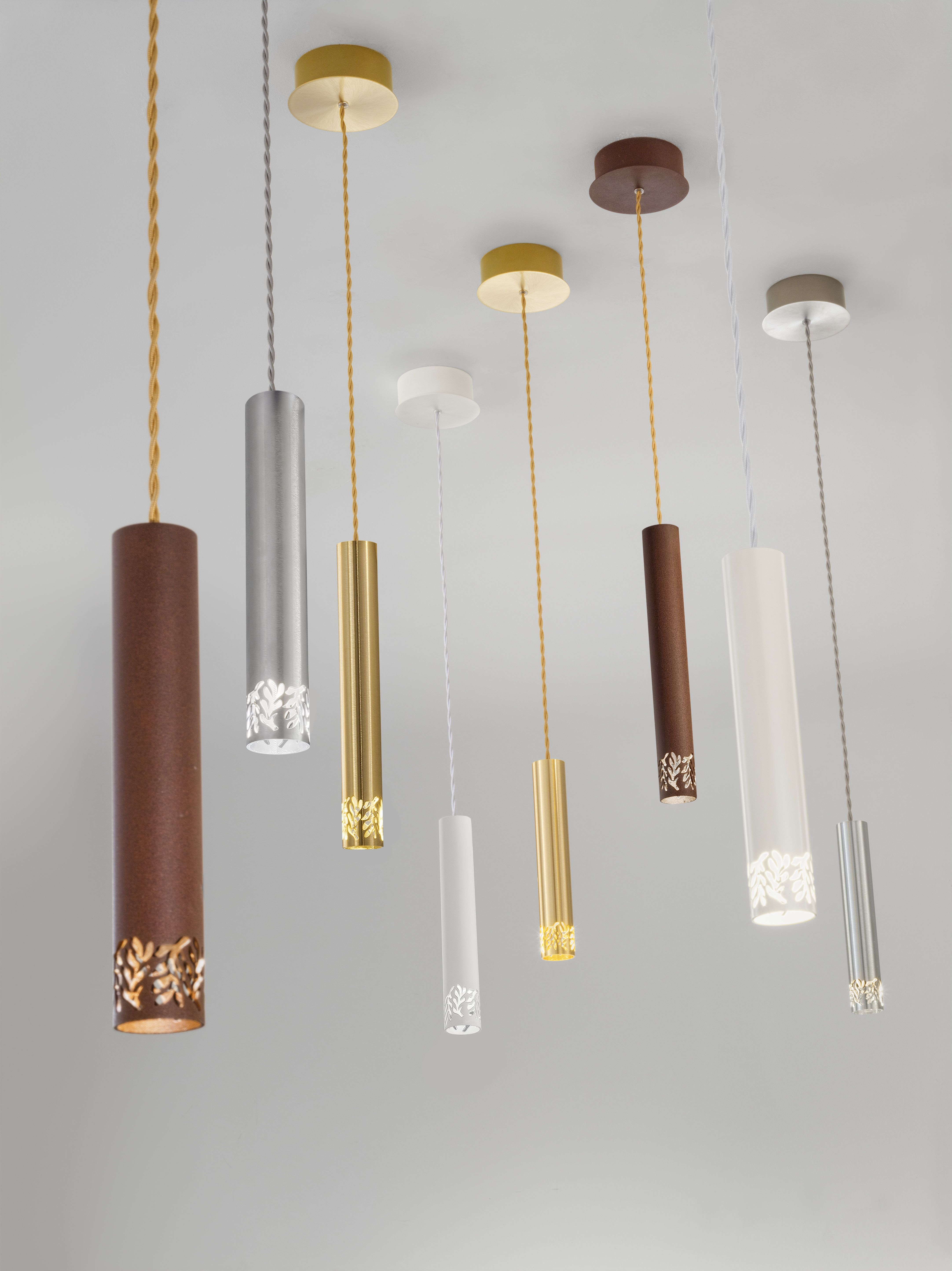 The Elegant Contemporary Wall And Ceiling Lights Hang Are Available In Four Colourways Brushed Gold Corten Steel Brushe Hanging Lights Ceiling Lights Light