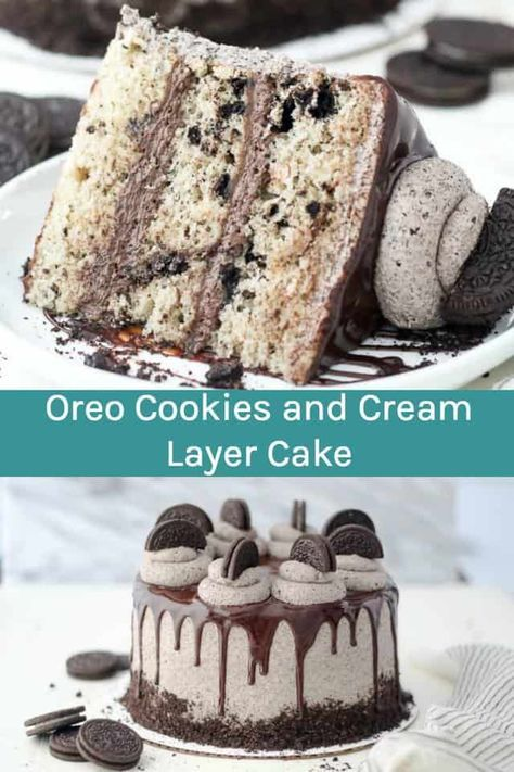 This Oreo Cookies and Cream Layer Cake is layers of moist vanilla cake loaded with crushed Oreos. The cake is filled with a chocolate fudge filling and topped with an easy Oreo buttercream. Glazed with chocolate ganache, this Oreo cake recipe is a showstopper! #oreocake #cookiesandcream #oreo #layercake #homemadecake #cake #oreolayercake #cookiesandcreamcake #cookiesandcreamfrosting #oreofrosting #cookiesandcreamfrosting