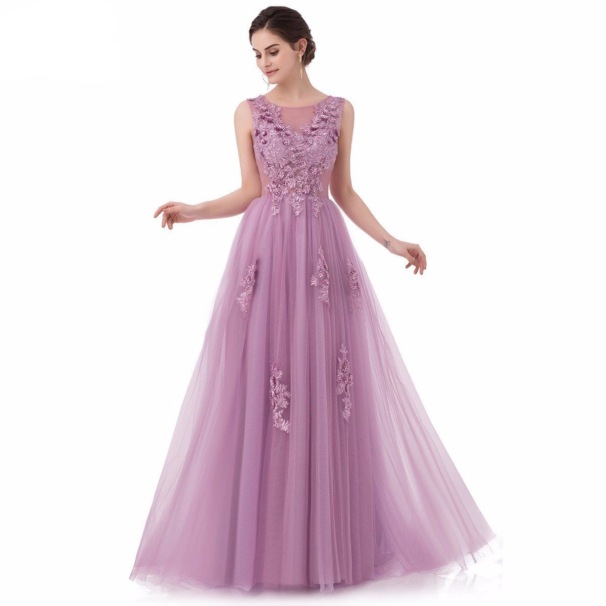 Lace Appliques with Beading Sleeveless Floor-length Long Party Gowns ... a6153a082146