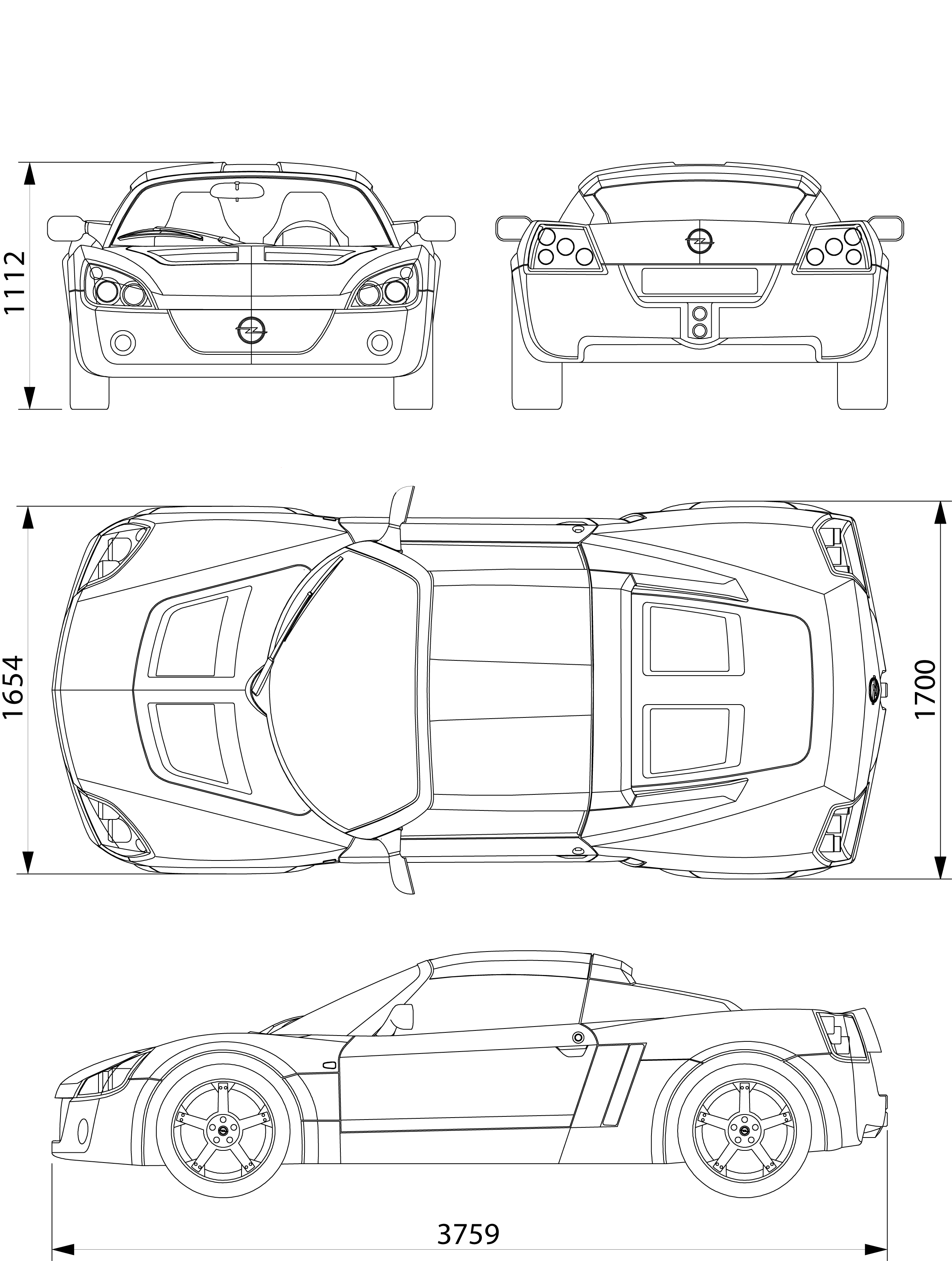 Opel Speedster Blueprint Car Templates Pinterest Cars