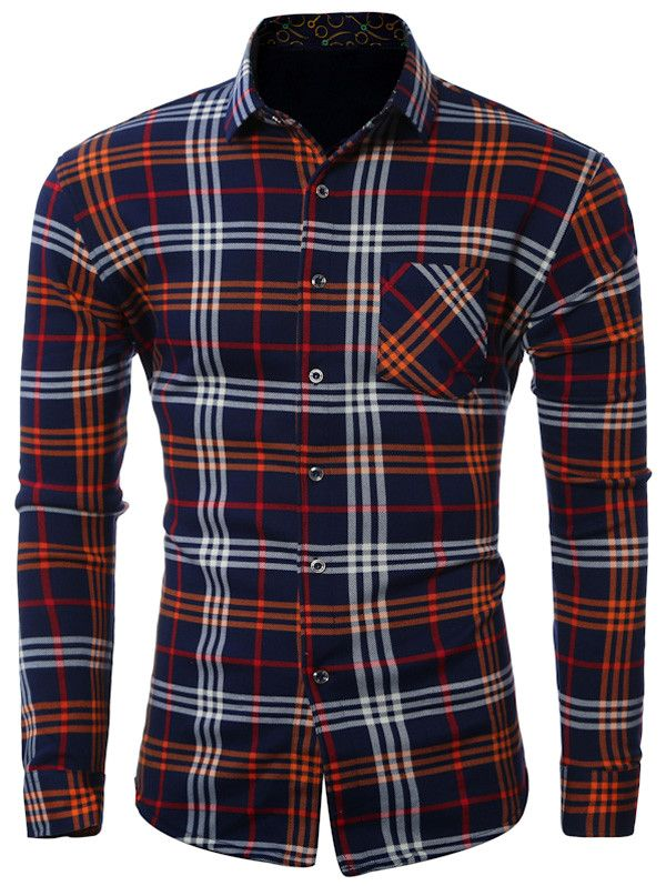 18.74 Plus Size Pocket Turn-Down Collar Long Sleeve Shirt  11eb1d43aeb