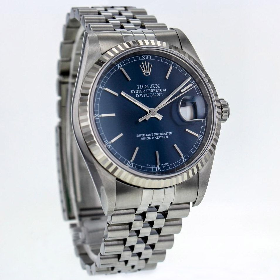 Rolex Datejust 36 mm watch with blue dial and 18K gold bezel