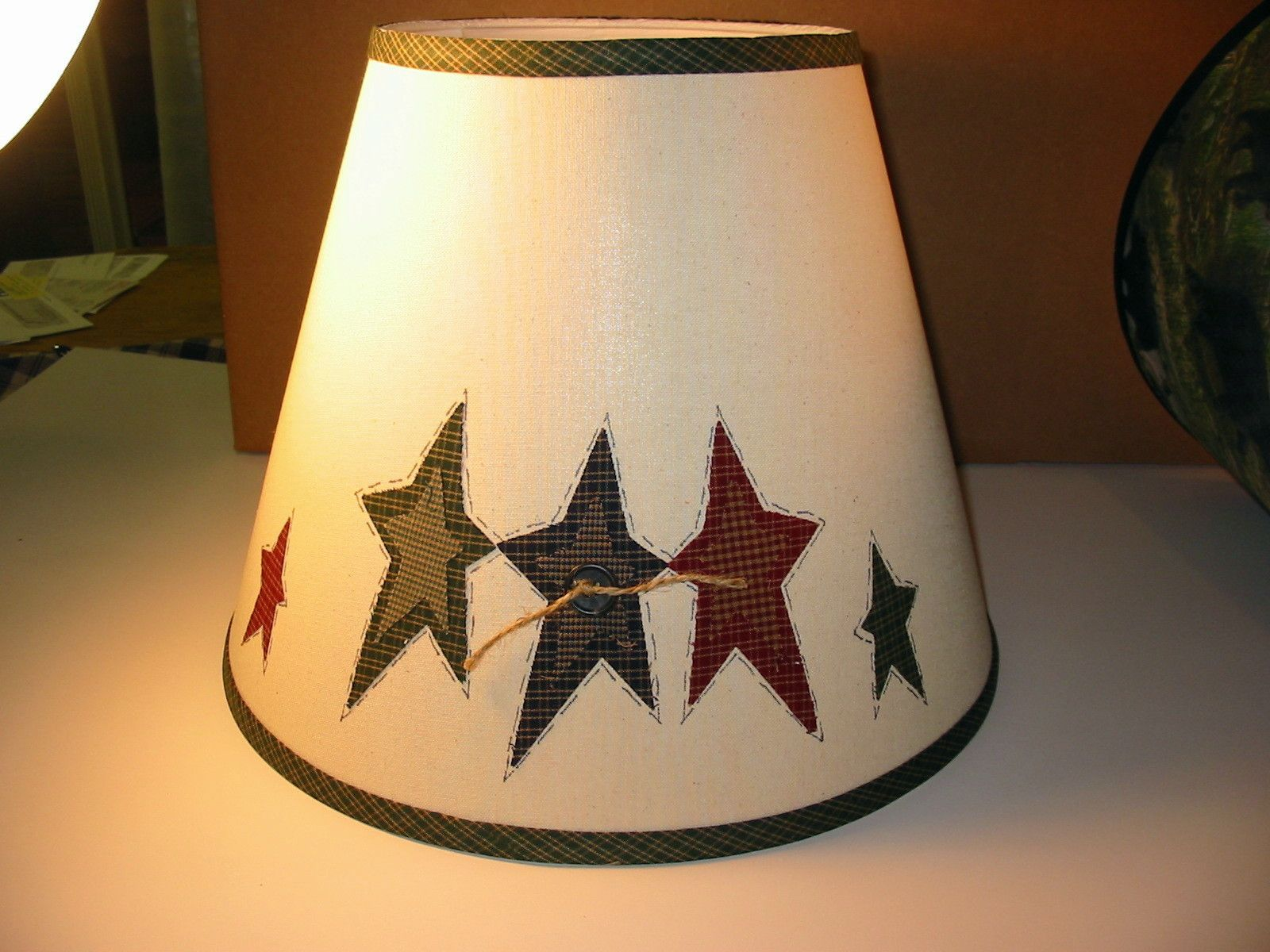 Attractive Navy, Red And Green Primitive STARS Natural Lamp Shade Hand Made