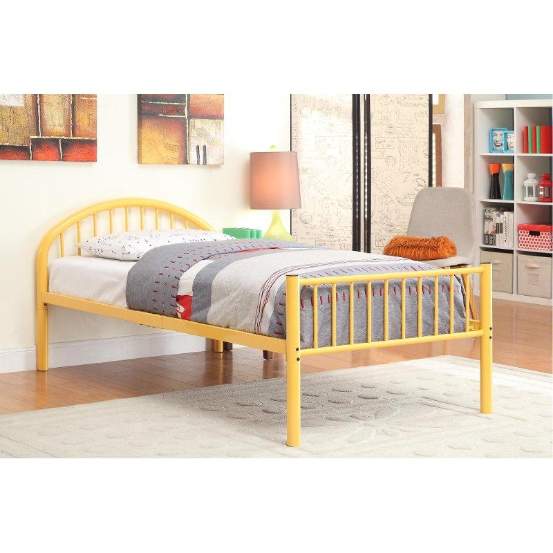 Orange Twin Metal Bed Chandler Bed Slats Orange Bedding