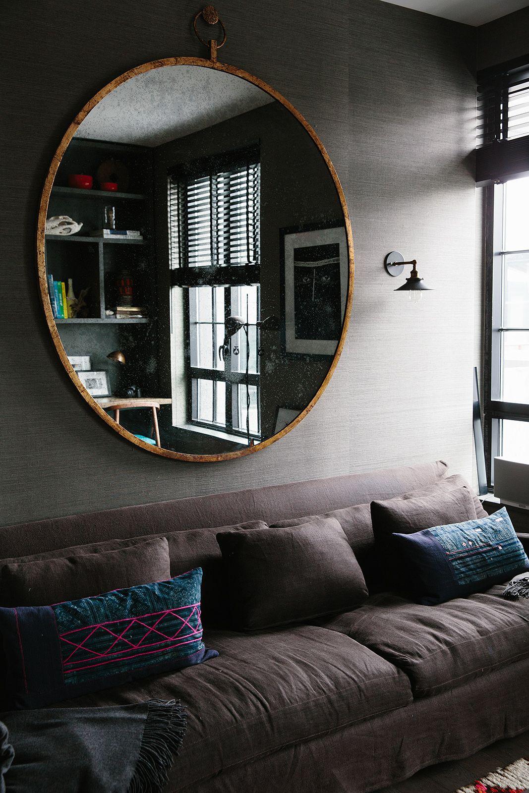 круглое зеркало над диваном фото что мой