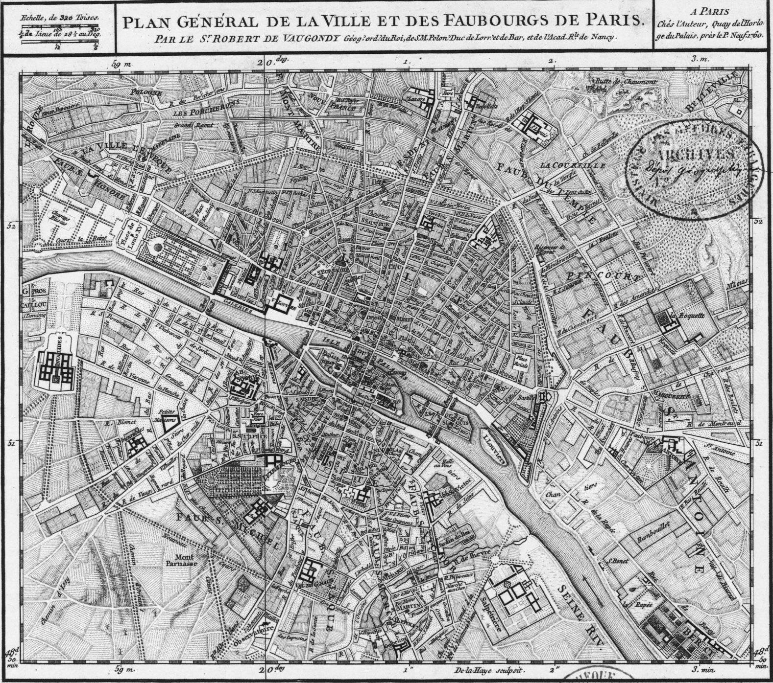 Mapa de Paris antes da reforma Haussmaniana – Plan De Paris Map