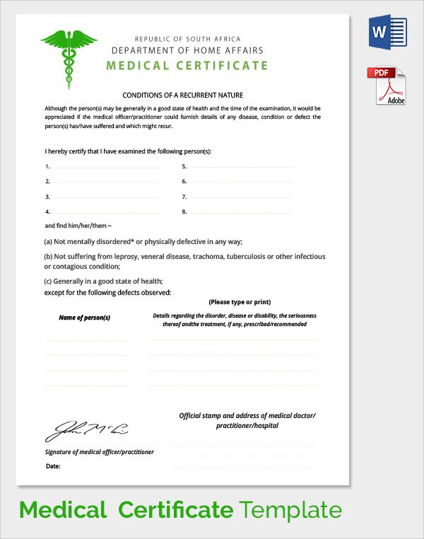 Sample Medical Certificate Download Documents Pdf Word Fake Doctors Note  Template Australia