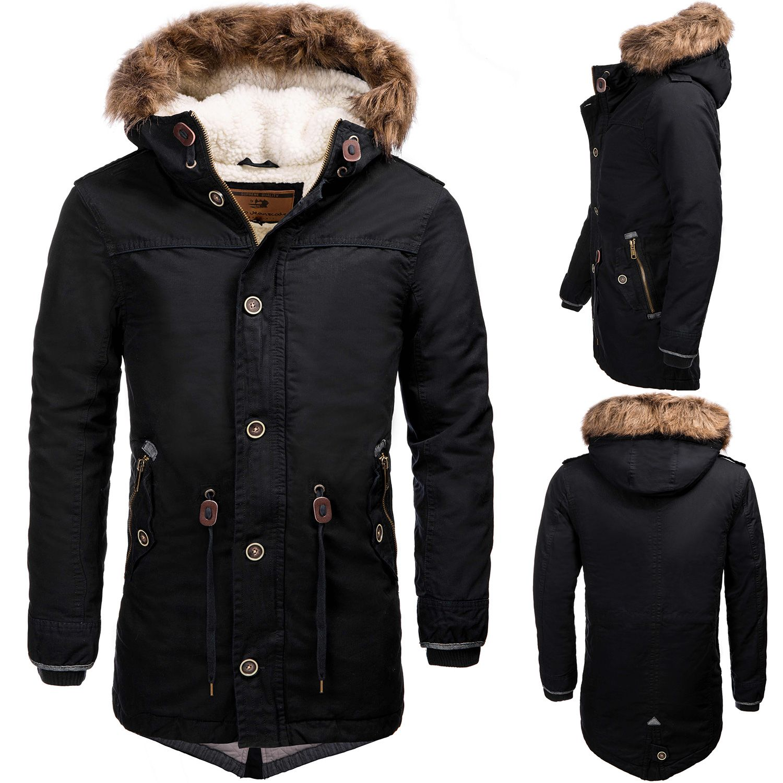 Indicode Gefuetterte Herren Parka Mantel Winter Jacke Kapuze Kunst Fell Regenjack With Images Winter Jackets Mens Parka Coats Parka Coat