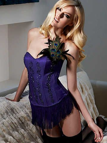 Peacock Corset--Limited Edition.   The fringe is detachable and so the peacock feather brooch!    #newfallstyle  #corset  #lingerie