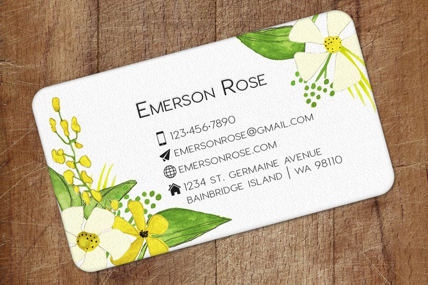 Business Card, Personalized Business Cards, Yellow and Cream Wildflowers, Calling Card, Contact Card - Set of 40 by OlivineStationery on Etsy