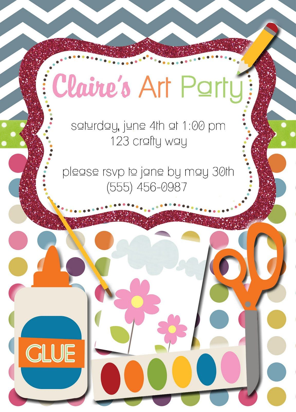 Arts And Crafts Birthday Party Invitations Choice Image - baby ...