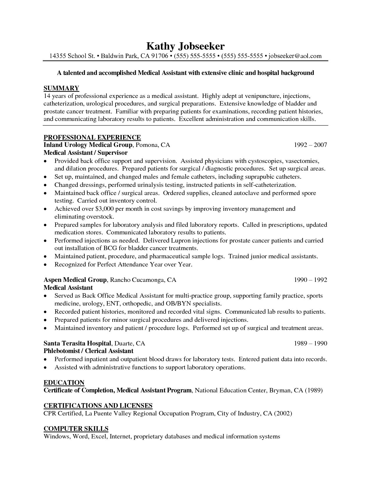 Cover Letter For Medical Doctor Job Assistant Sample Resume