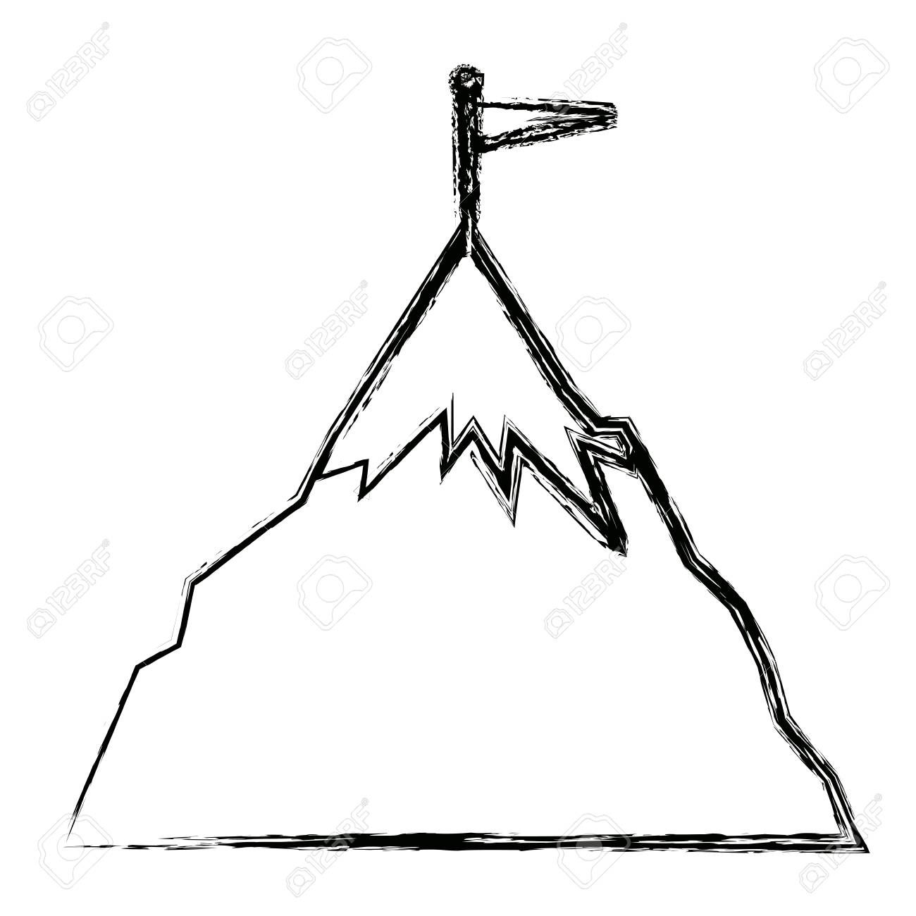 Success Icon Mountain With Flag On A Peak As Aim Achievement Or Leadership Vector Illustration Sponsored Paid Retail Logo Triangle Tattoo Hair Accessories