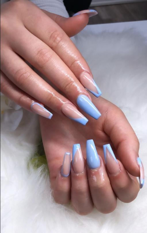 Baby Blue Coffin Nails : coffin, nails, Elegant, Acrylic, Nails, Design, Summer, -Coffin, Stiletto, Designs,, Nails,, Coffin, Designs