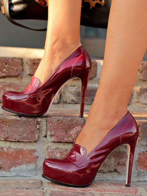 Burgundy Vintage High Heels Women Shoes Round Toe Slip On