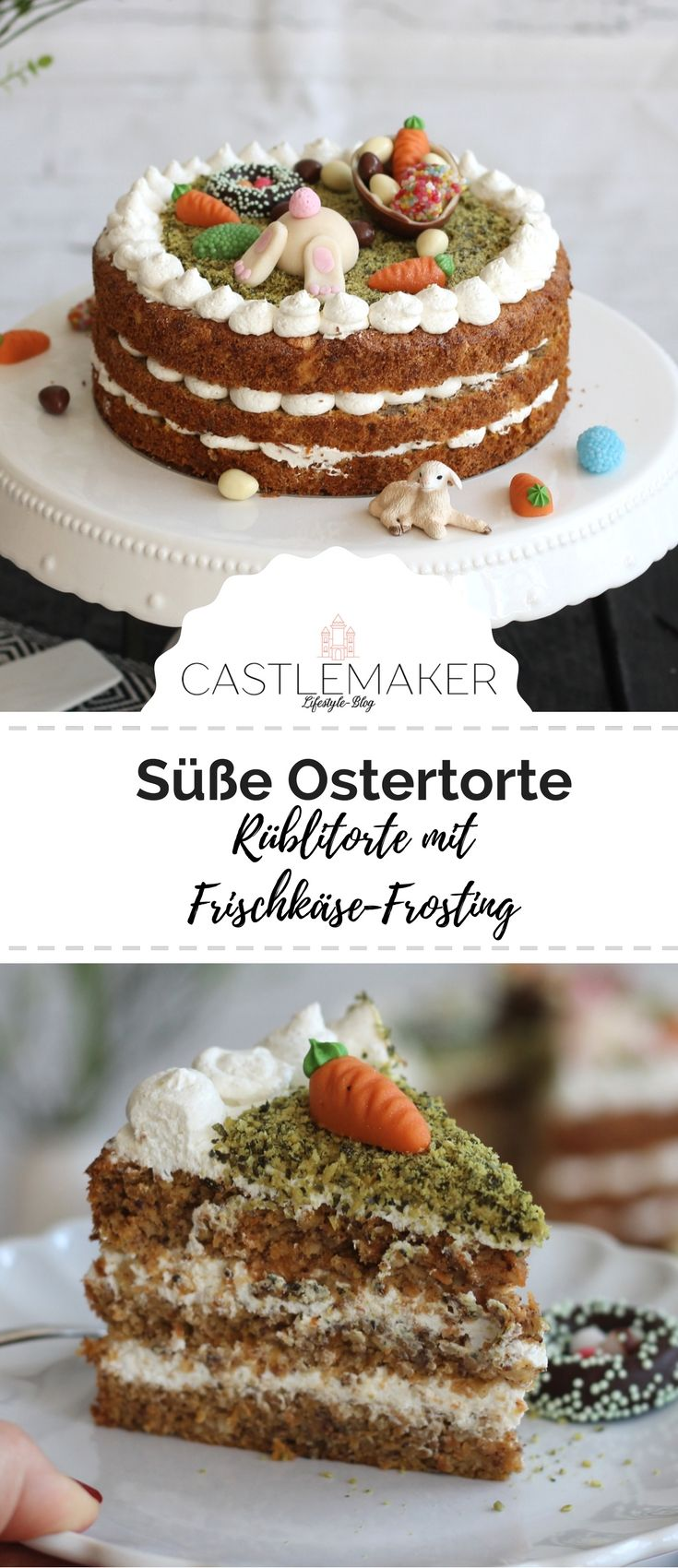 Rübli Torte mit süßer Osterdekoration #frostings