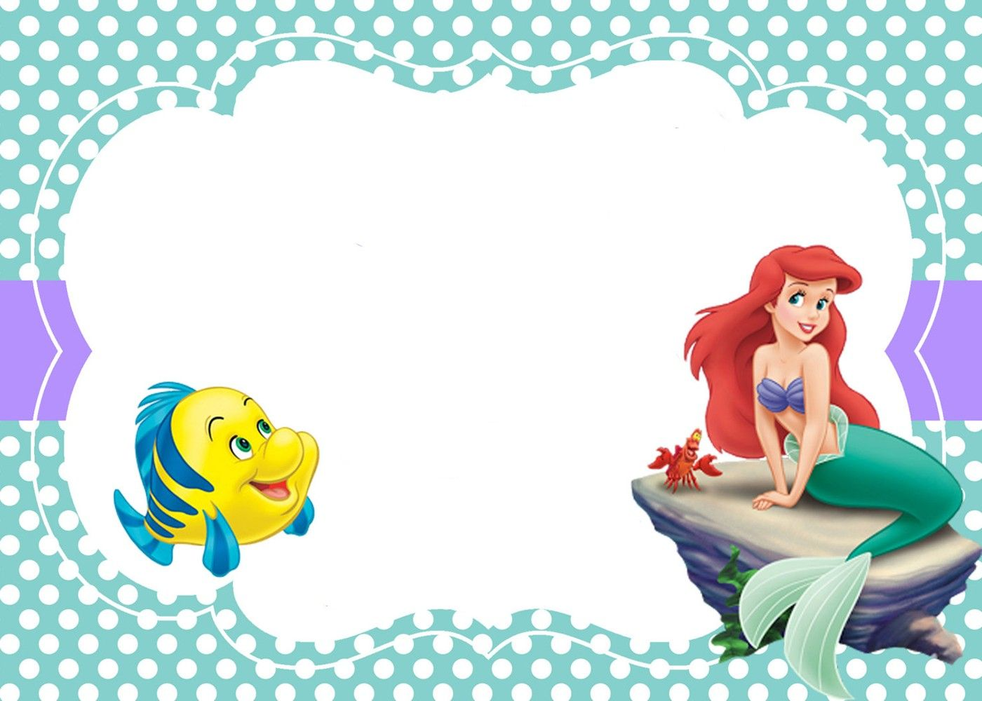 Printable Little Mermaid Invitation Card