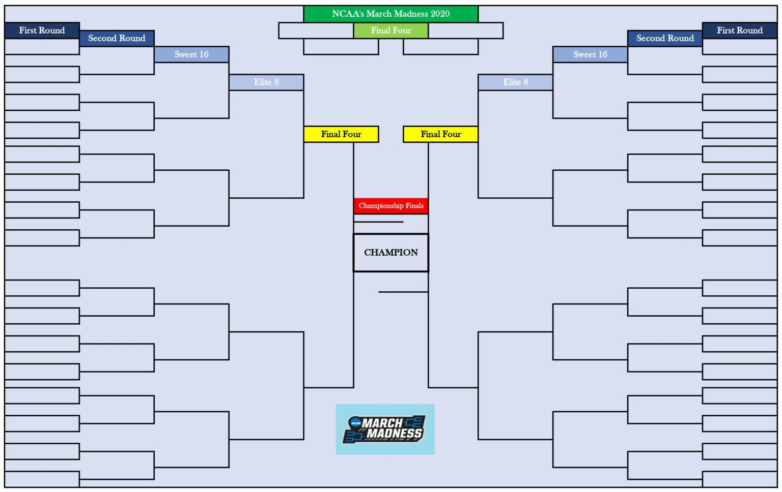 Blank March Madness Bracket For 2020 Ncaa Men S Basketball With Regard To Blank March Madness Bracket Template March Madness Bracket Ncaa Bracket March Madness