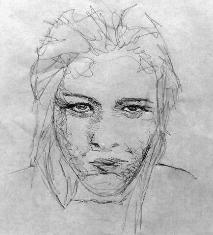 auto retrato, caneta em papel esquiço, A4