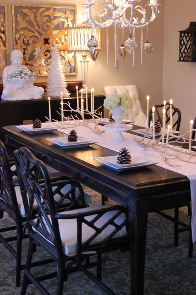 Black Dining Table Decor white faux bamboo chandelier, mercury glass & icicle ornaments