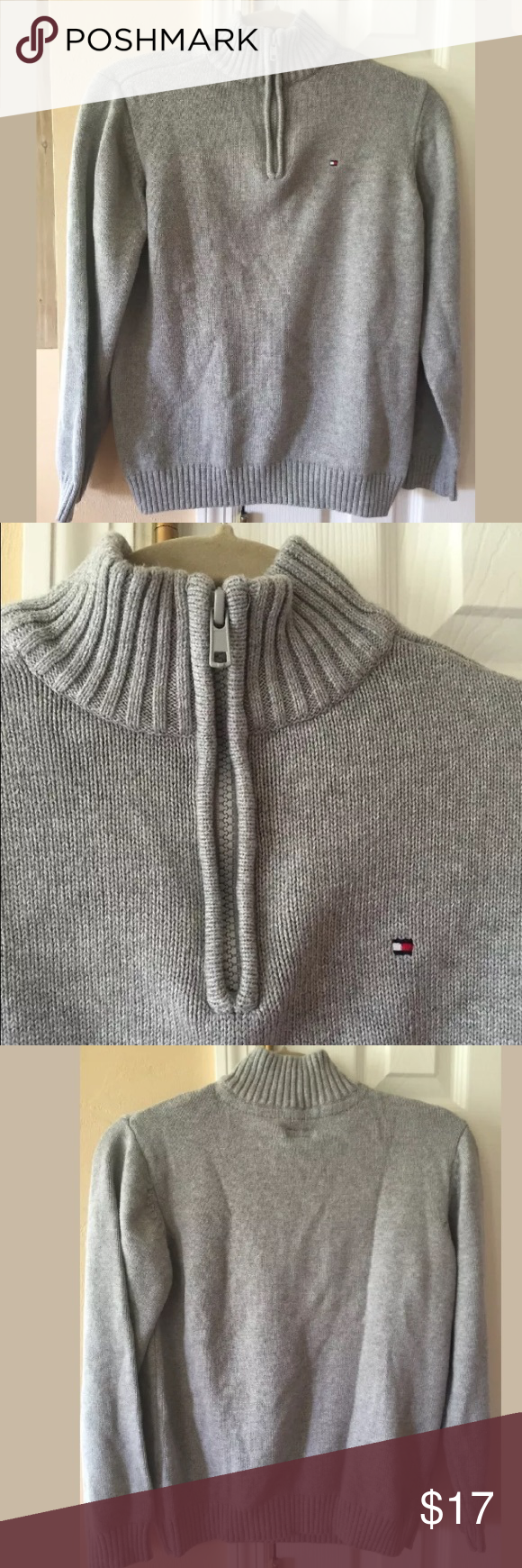 TOMMY HILFIGER Gray 1/2 Zip Knit Sweater Pullover TOMMY HILFIGER Gray 1/2 Zip Knit Sweater Pullover  Boys Large 16/18  100% Cotton Preowned Tommy Hilfiger Shirts & Tops Sweaters