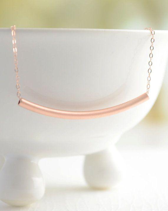 Rose gold curved bar necklace - pink gold bar necklace - 1163